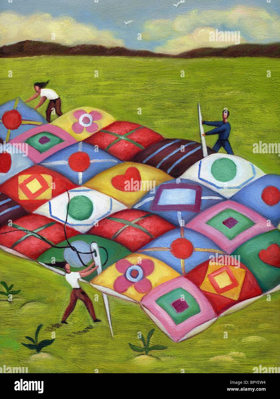Menschen, die einen großen Quilt zusammennähen Stockbild