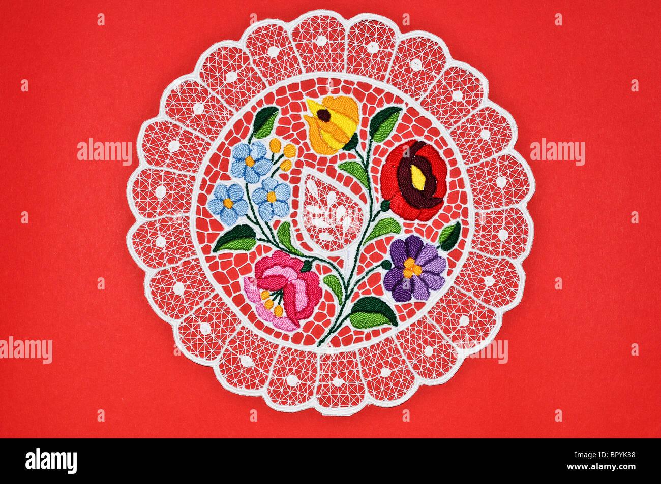 Ungarische Kreis Stickerei Tischdecke Stockbild