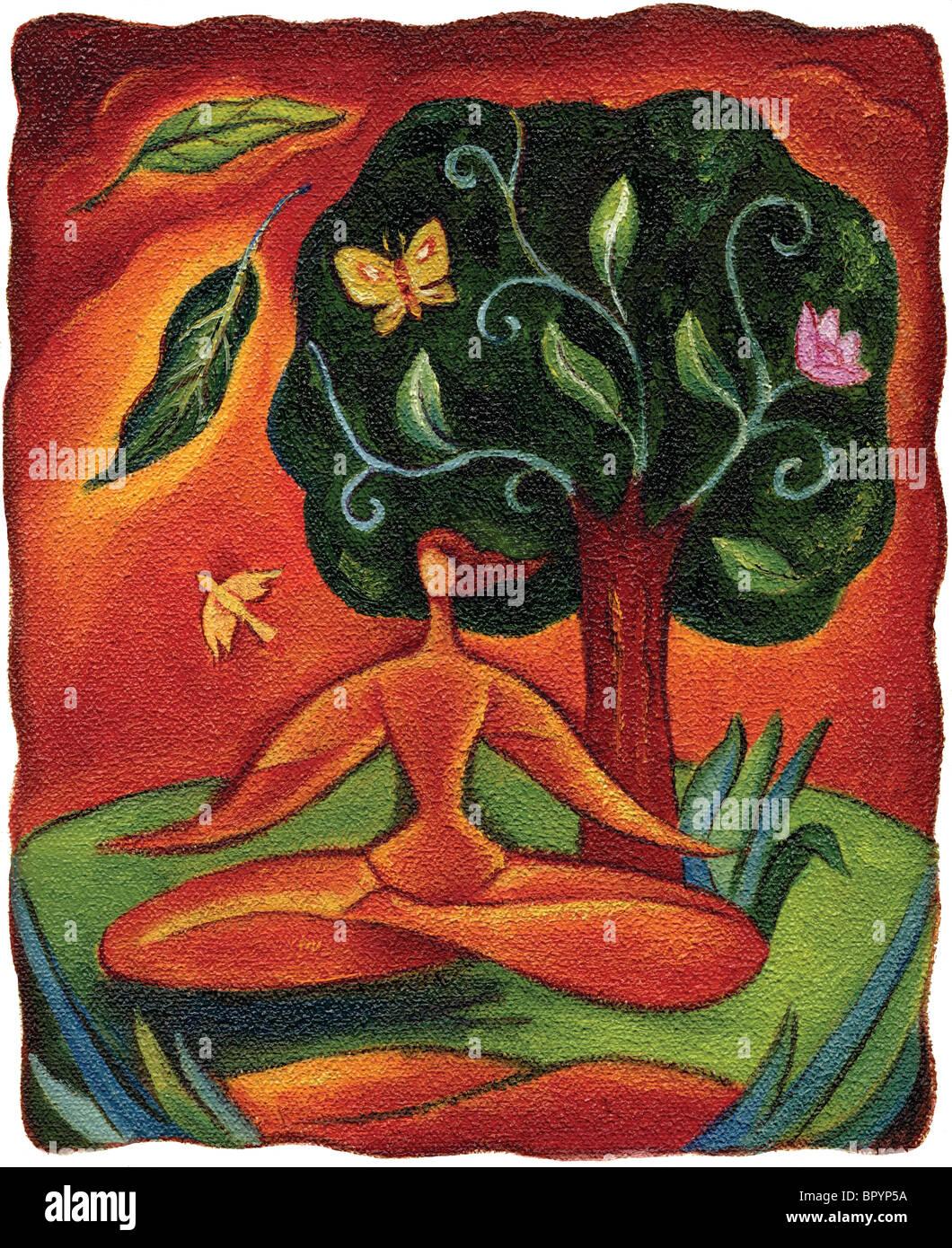 Umriss einer Frau unter einem Baum zu meditieren Stockbild