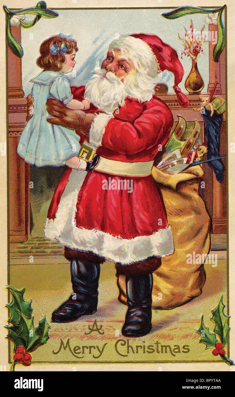 Weihnachts-Postkarte von Santa Claus hält ein kleines Mädchen Stockbild