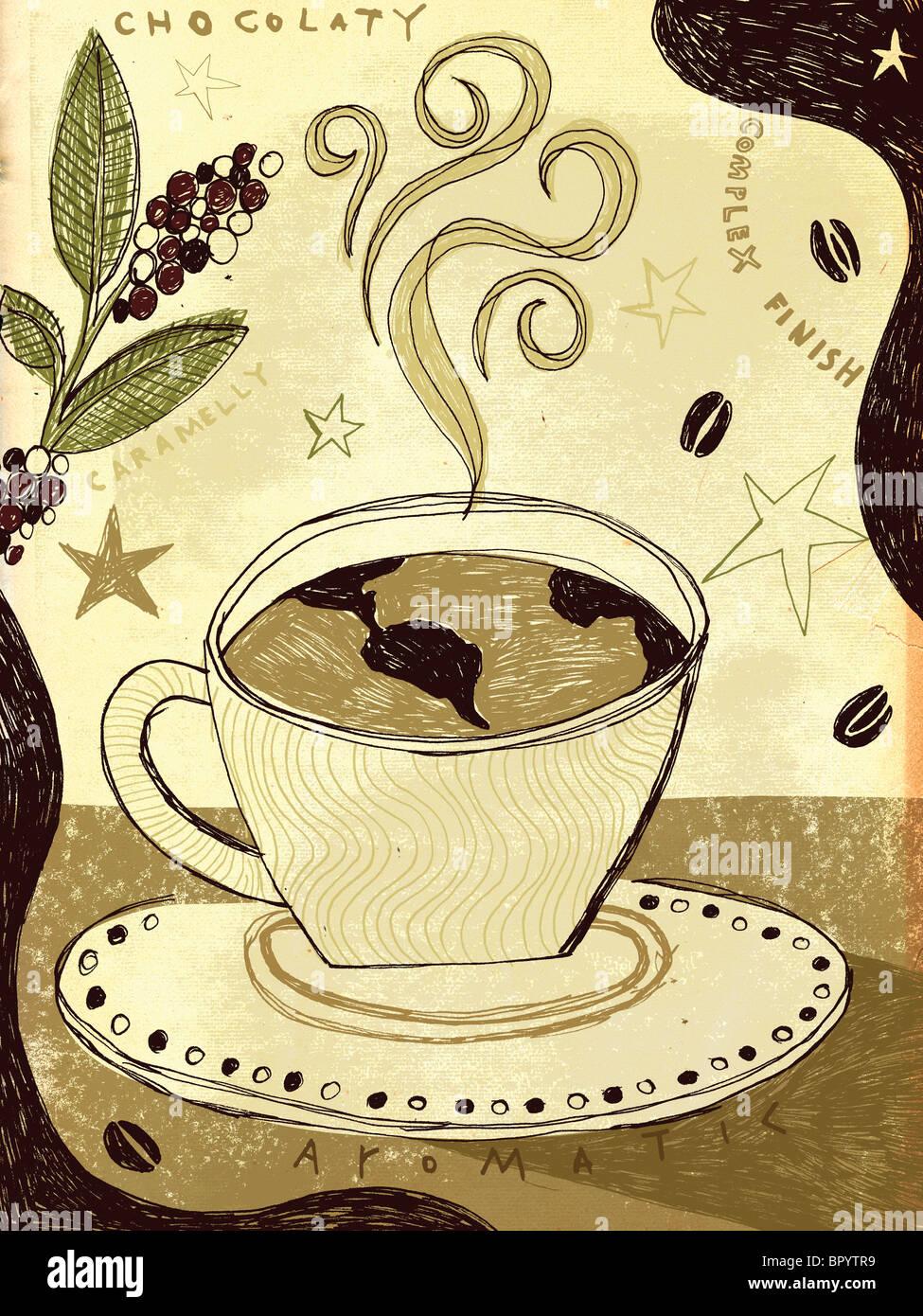 Dampfend heißen Kaffee mit einem Globus in es Stockbild
