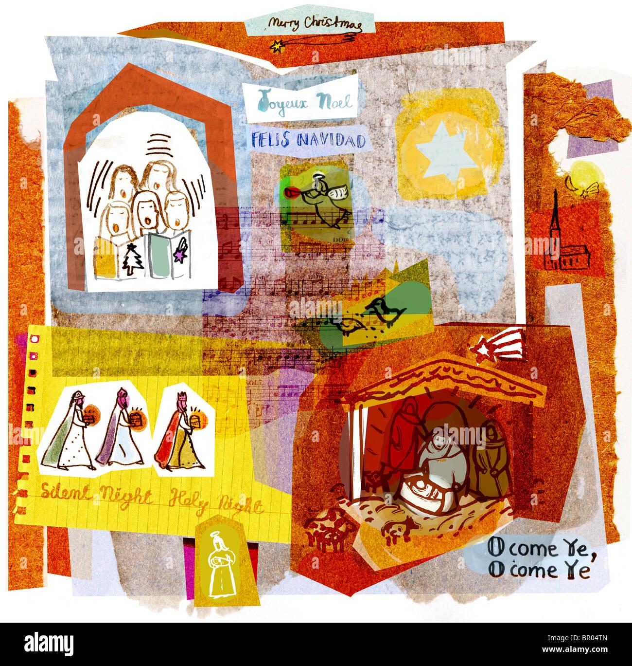 Eine Collage Illustration Weihnachtslieder, Engel, Sänger und die ...