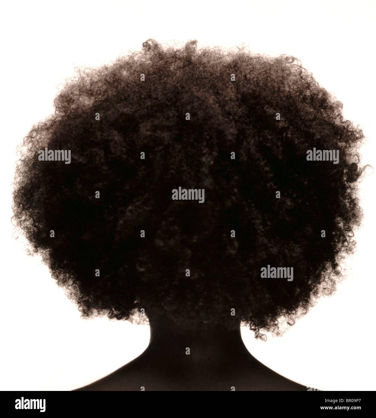 Silhouette der afroamerikanischen Womans Kopf mit krauses Haar. Stockfoto