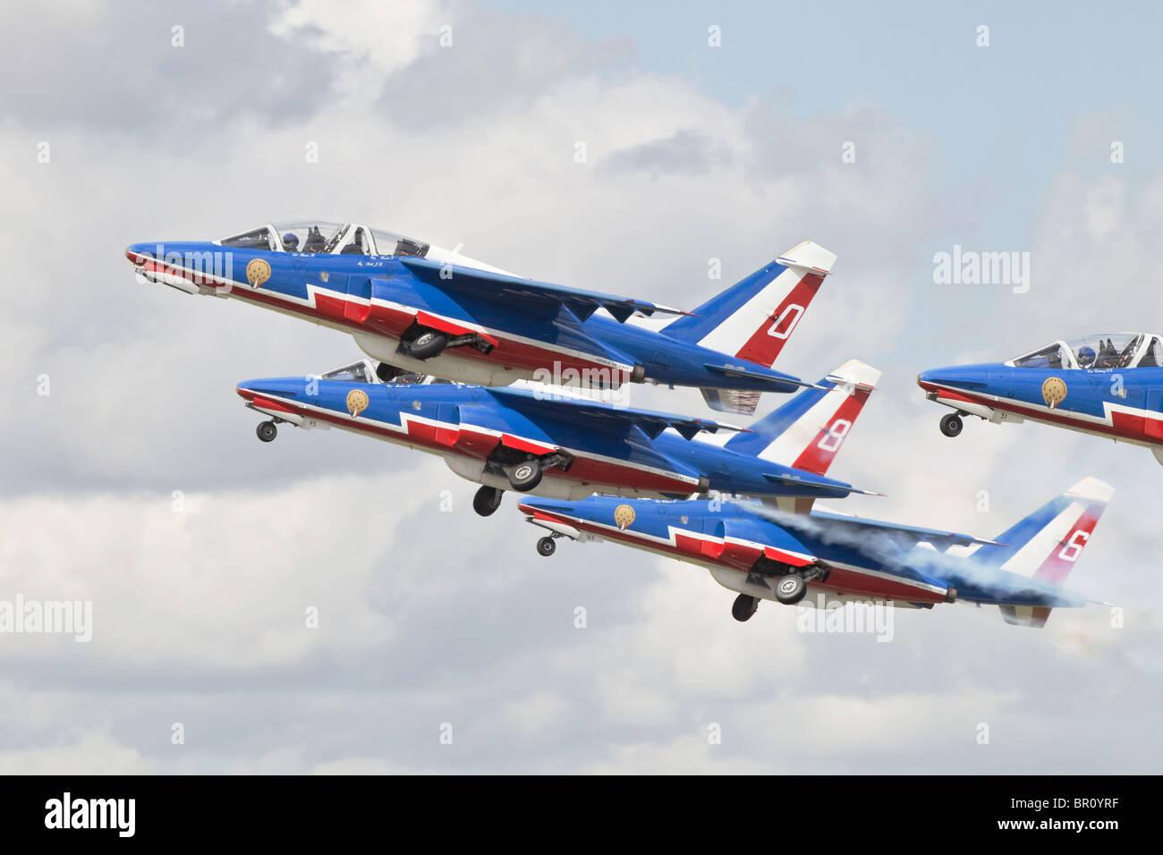 Dassault - Breguet / Dornier Alpha Jets der französischen Luftstreitkräfte Patrouille de France immer Stockbild