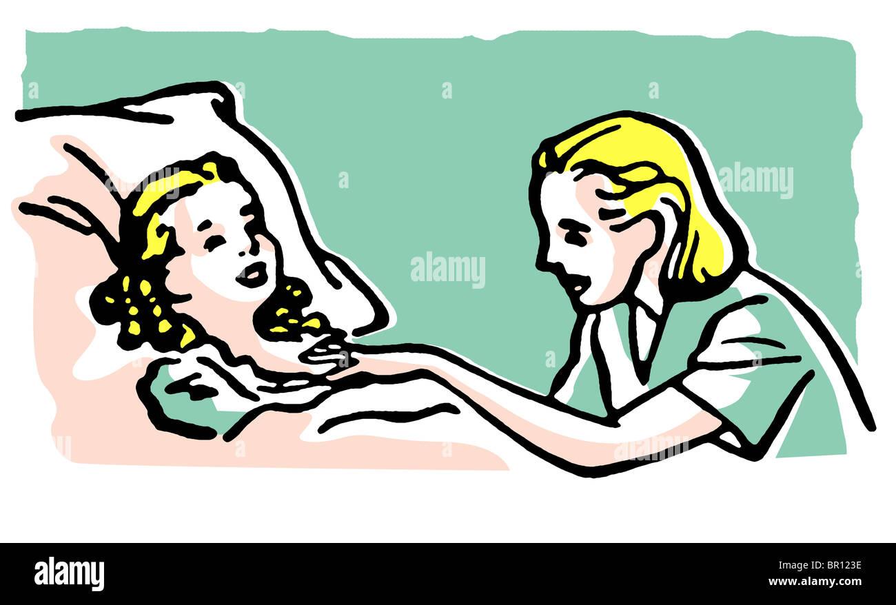 Abbildung Krankenhaus Bett Mann alt besuchen Enkel senior Opa Enkel Kinder  Krankenbett liegend ans Bett gefesselt Anruf Blumen Stockfotografie - Alamy