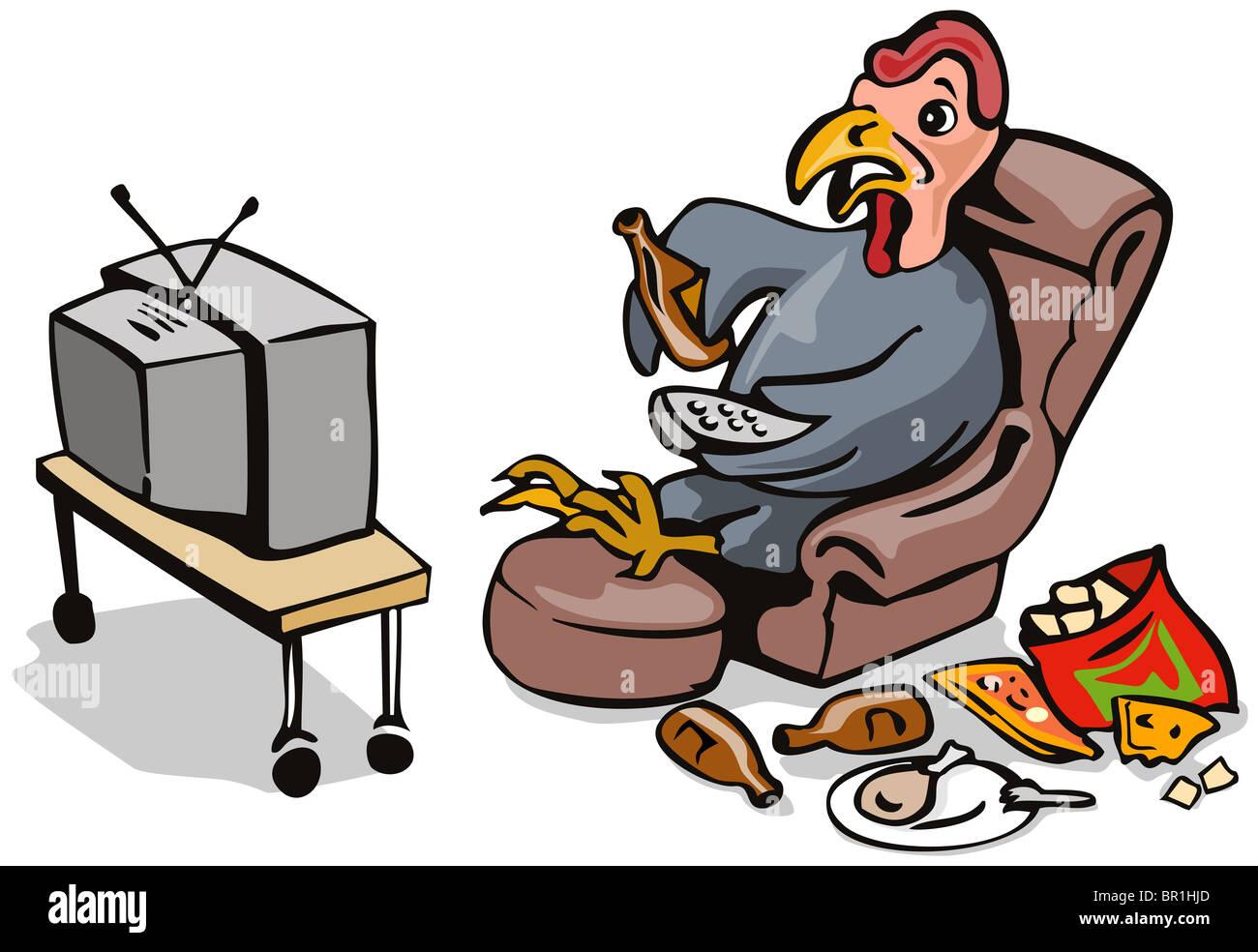 Katze Vor Dem Fernseher Bild: Cartoon Illustration Einer Faulen Stubenhocker Türkei