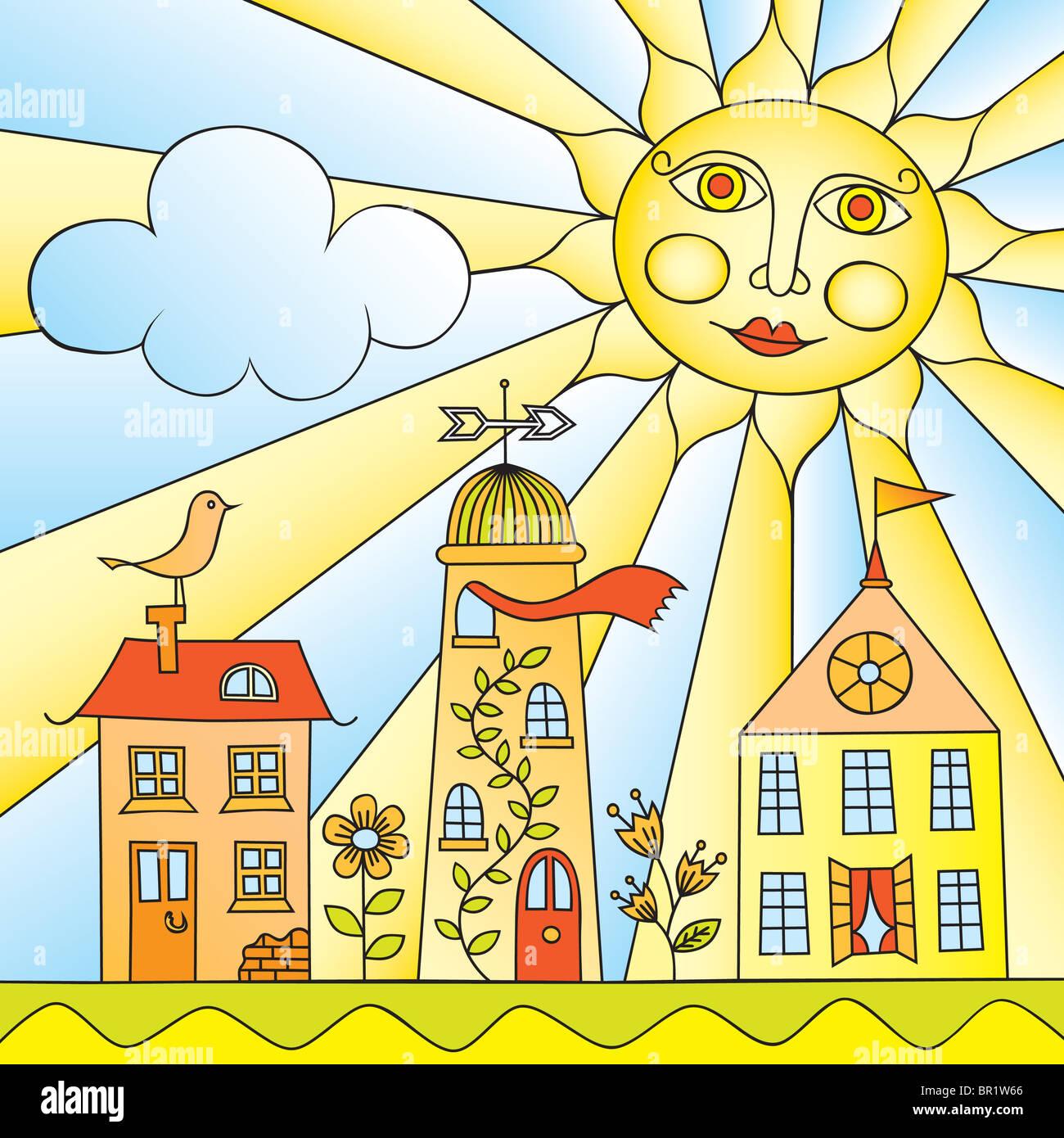 Stadt unter Sonne Stockbild
