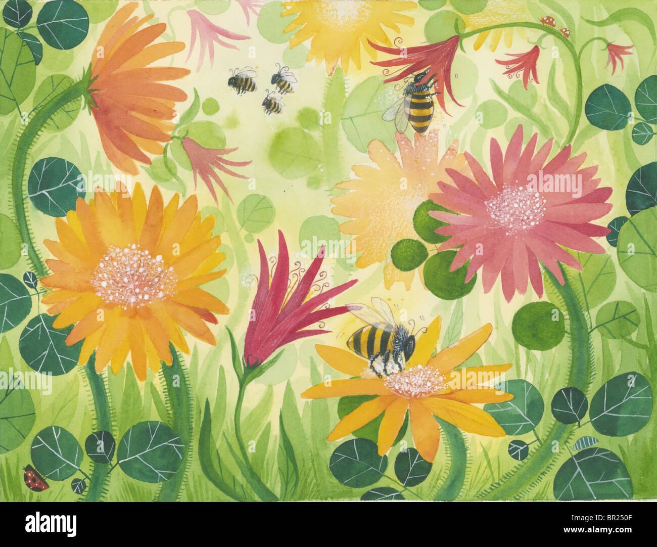 Ein Bild von Frühlingsblumen mit Bienen Stockbild