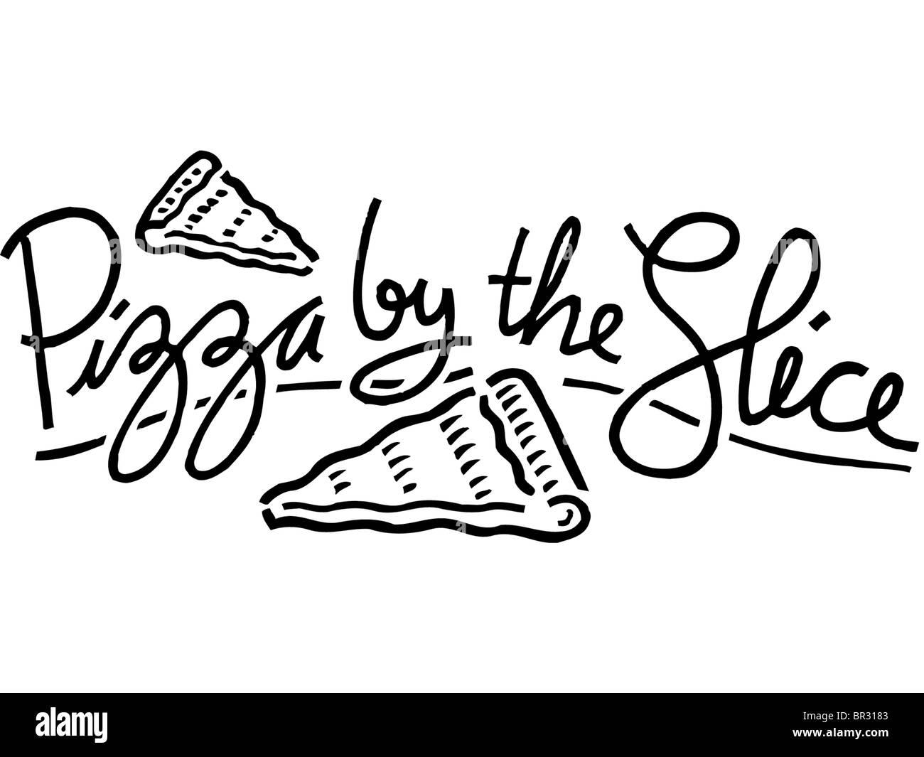 Eine Schwarz Weiß Darstellung Der Pizza Von Der Scheibe Stockfoto