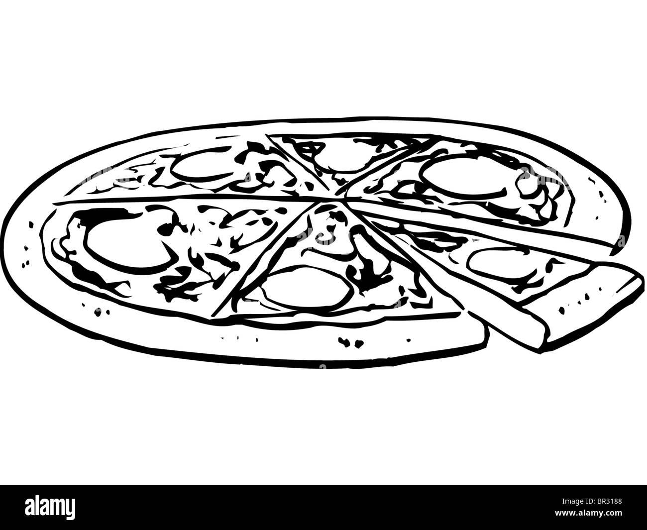 Ein Schwarz Weiß Darstellung Eine Ganze Pizza Stockfoto Bild