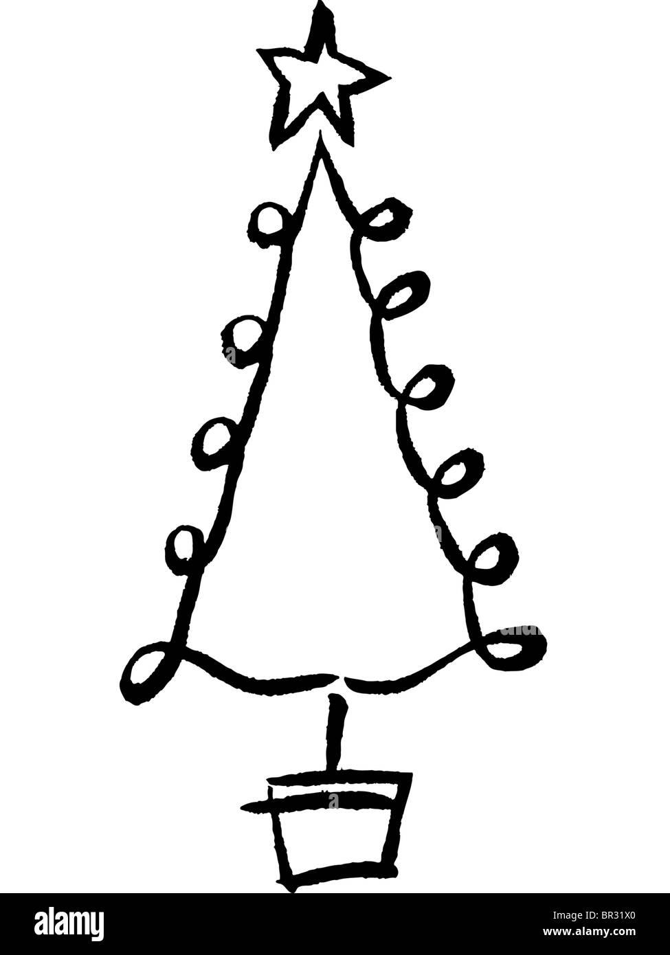 Weihnachtsbaum Schwarz Weiß.Ein Schwarz Weiß Zeichnung Von Einem Skurrilen Weihnachtsbaum