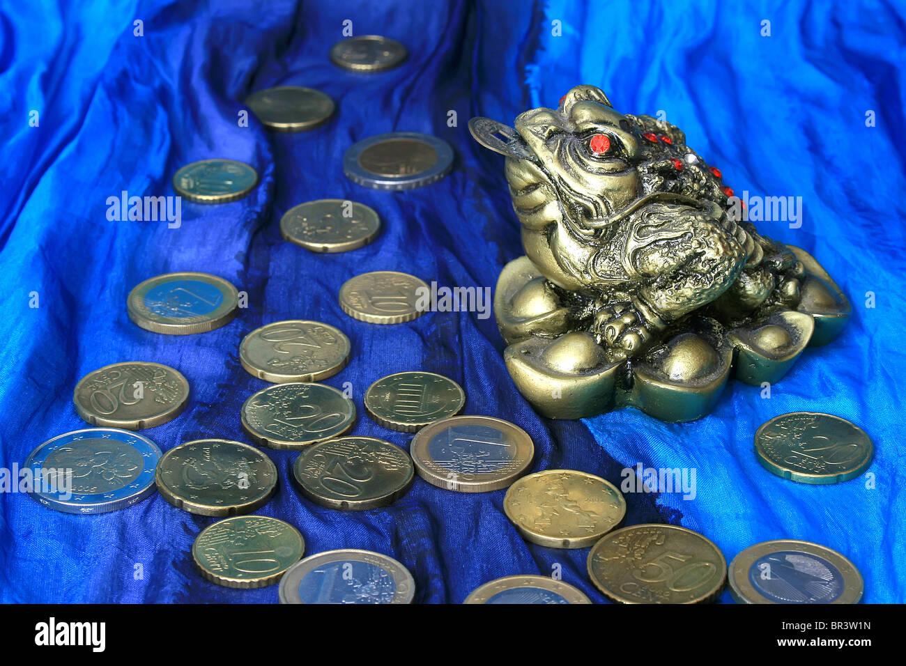 Feng Shui Chinesische Frosch Mit Münzen Bringt Erfolg Und Wohlstand