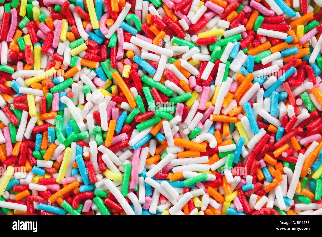 bunte Zucker Streusel Stockbild