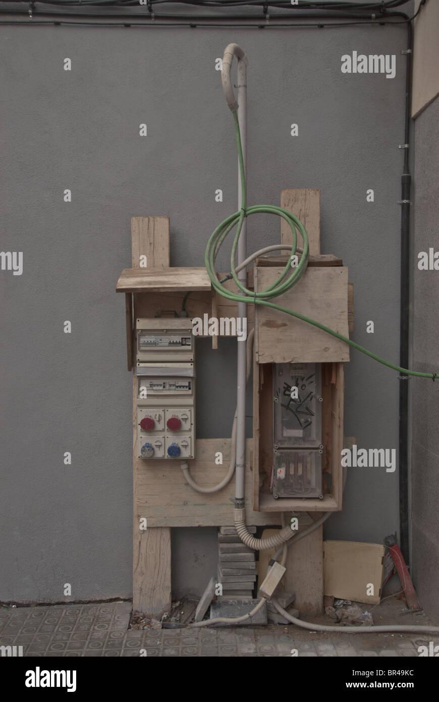 Eine temporäre Stromversorgung zu einer Baustelle Stockbild