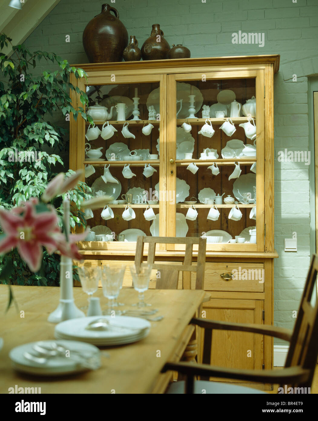Sammlung Von Weißware In Regalen Im Kiefer Kommode Mit Glastüren In Pastell  Grünen Land Esszimmer
