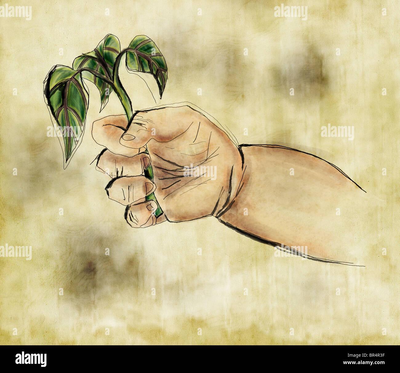Eine Babys Hand eine sprießende Pflanze Stockbild