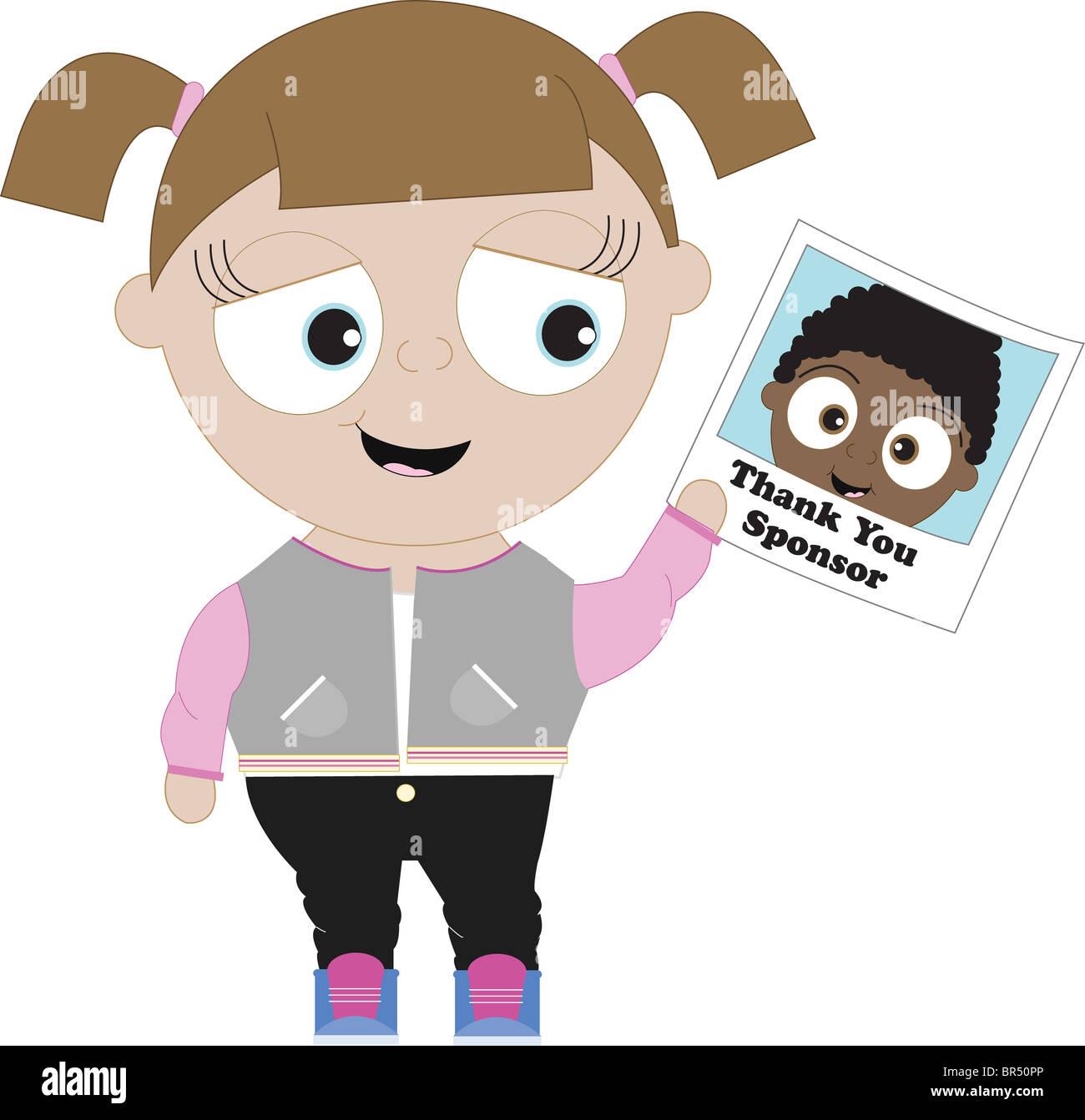 Sponsor hielt danke-Karte aus ihrem Patenkind Stockbild