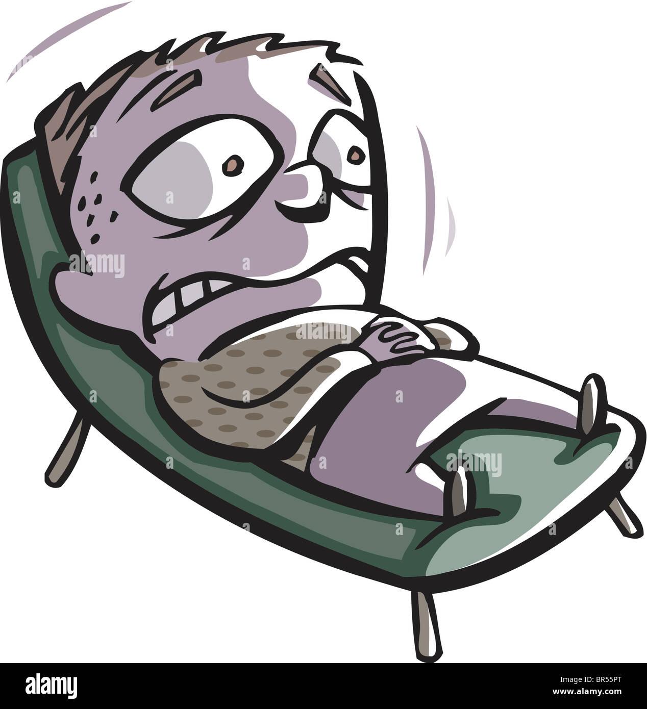 Mann im liegestuhl clipart  Eine verängstigte Mann auf einem Liegestuhl liegend Stockfoto, Bild ...