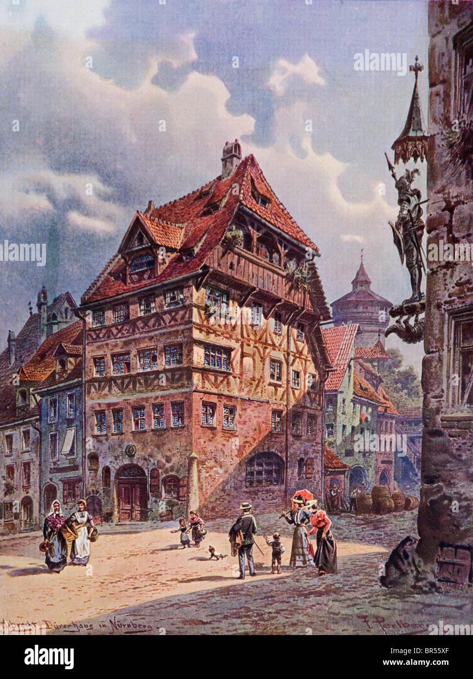Albrecht Haus in Nürnberg, Deutschland wie es war im 19. Jahrhundert. Stockbild