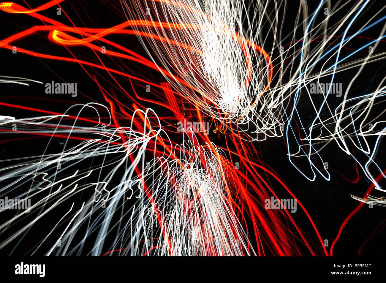 Autobahn, Nacht, Verkehr, Trail, Lichter, Autos, schnellen, beweglichen, Unschärfe, Geschwindigkeit, Strömung, Stockbild