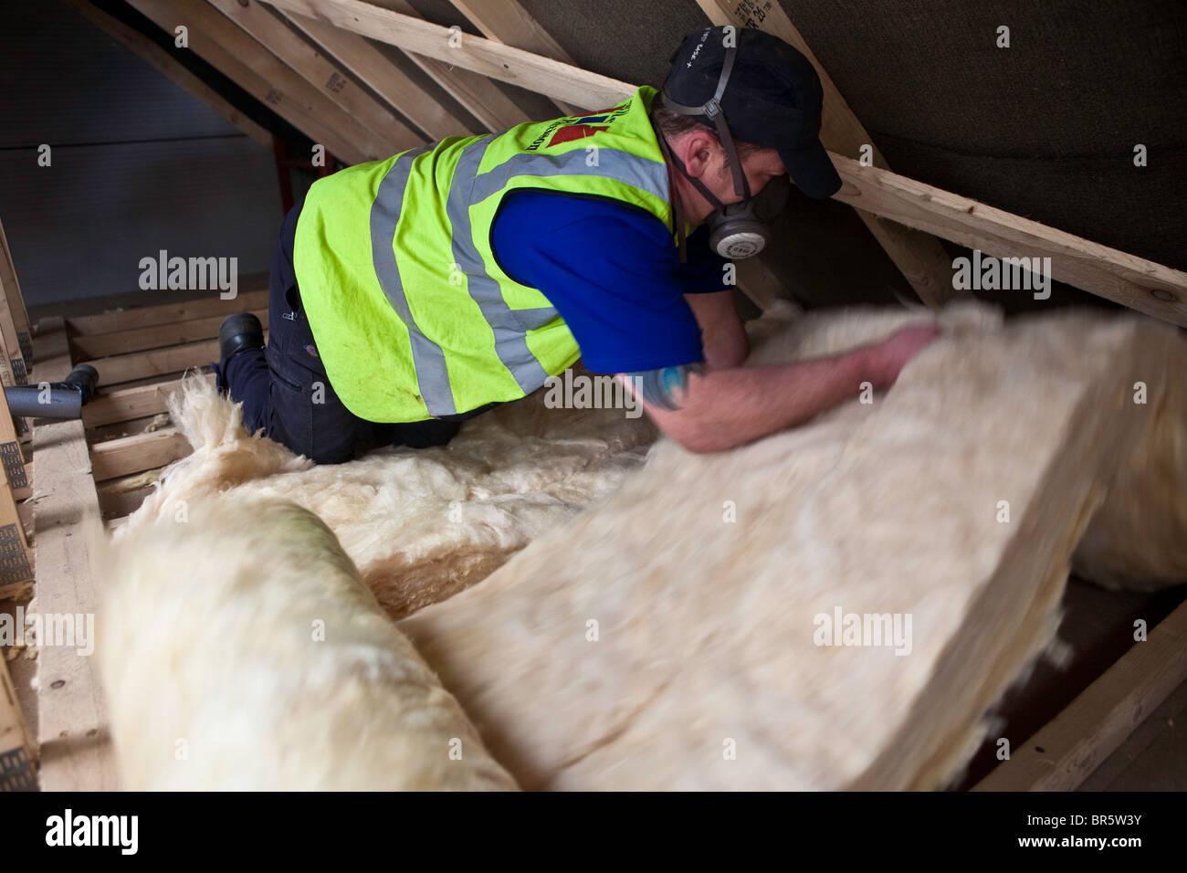 Nachhaltige Dachboden Isolierung aus Wolle in einem Dach in Kirklees, UK installiert wird. Stockbild