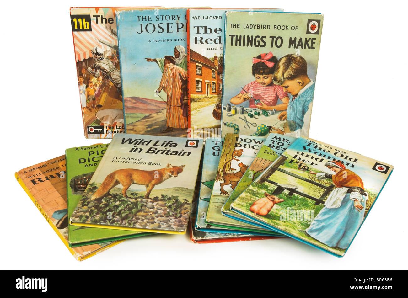 Auswahl der Lady Bird Bücher aus den 60er/70er Jahren Stockfoto