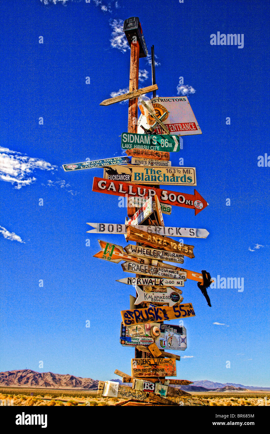 Straßenschild, Entfernung & Kilometerstand Stockbild