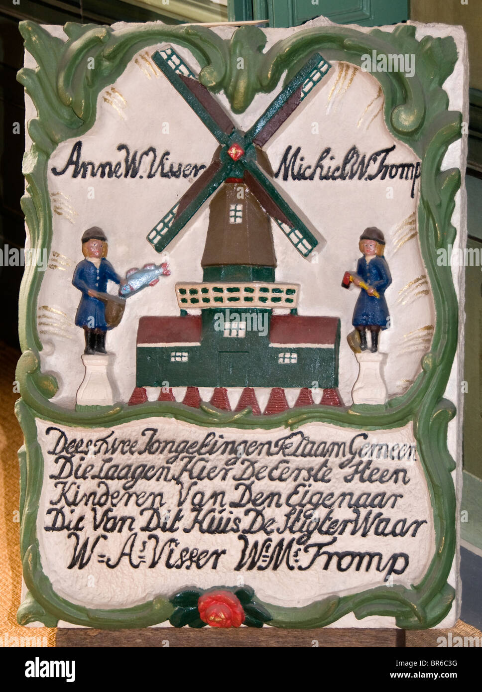 Niederlande Sneek alte Haus 18 Jahrhundert Friesland Windmühle Stockbild