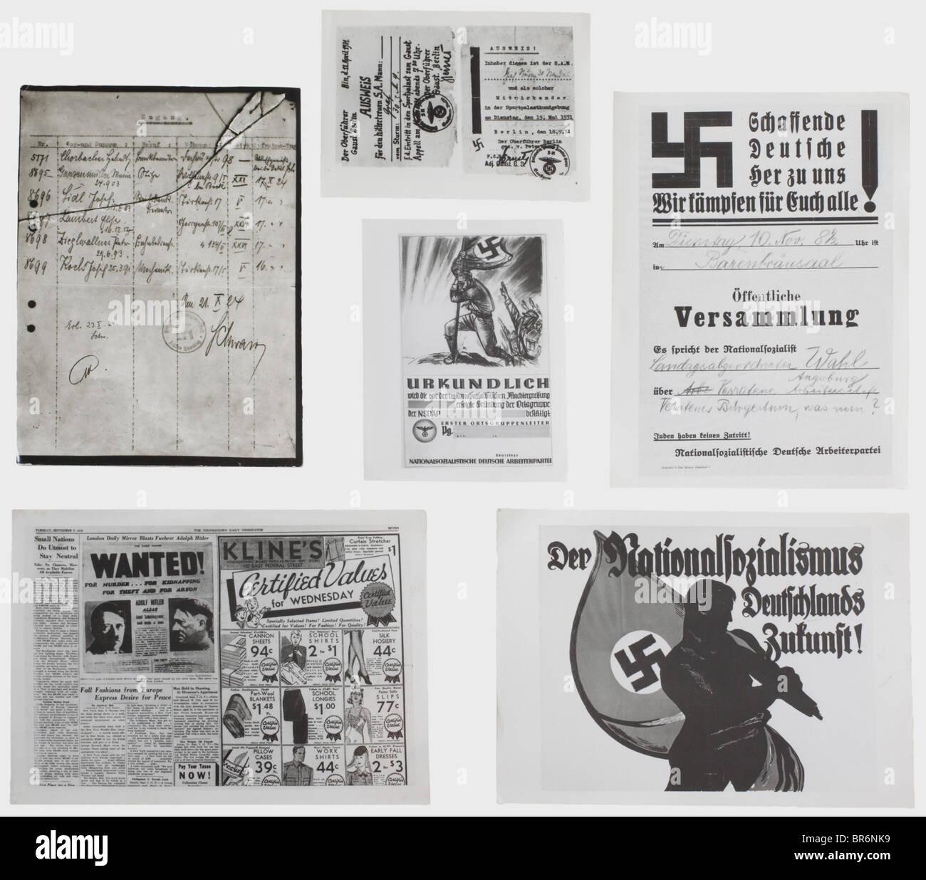 Mehr als 500 Fotografien aus dem zentralen Archiv der NSDAP., verschiedene Größen, fast alle Bilder haben Stockbild