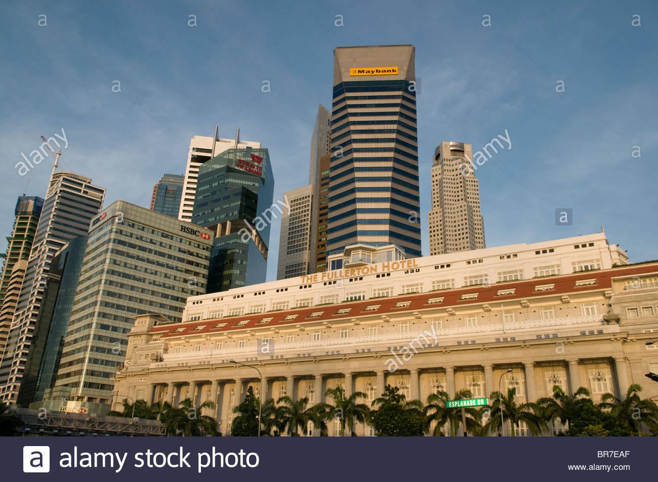 Central Business District und das Fullerton Hotel Singapore Stockbild