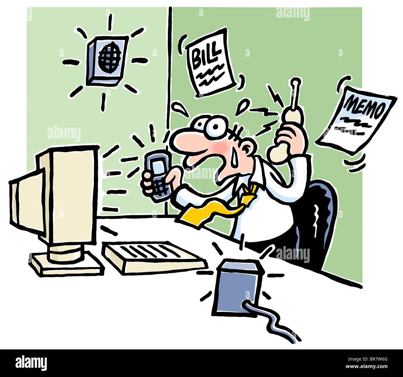 Karikatur Von Geschaftsmann Sitzt An Einem Schreibtisch Suchen Betont Und Umgeben Von Aktive Handy Computer Gegensprechanlagen Und Memos Stockfotografie Alamy