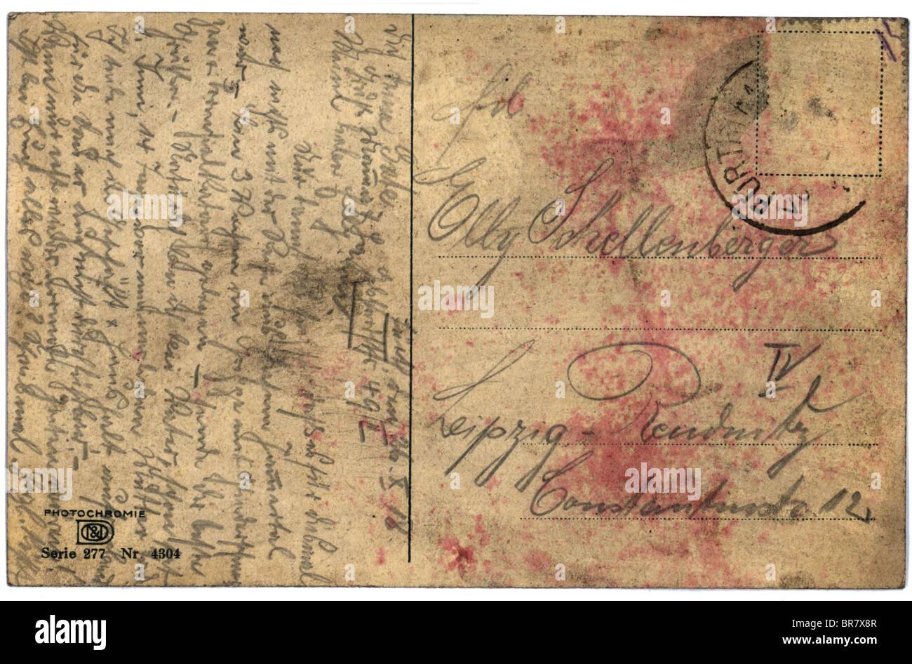 Alte Ansichtskarte mit dem Skript schreiben Stockfoto, Bild ...