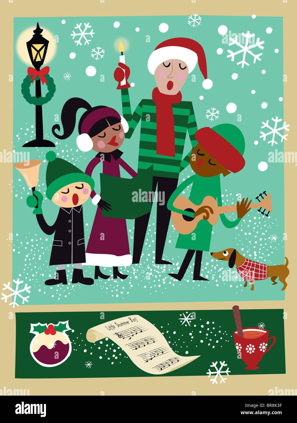 Gruppe von Kindern singen Weihnachten Weihnachtslieder im Schnee mit ...