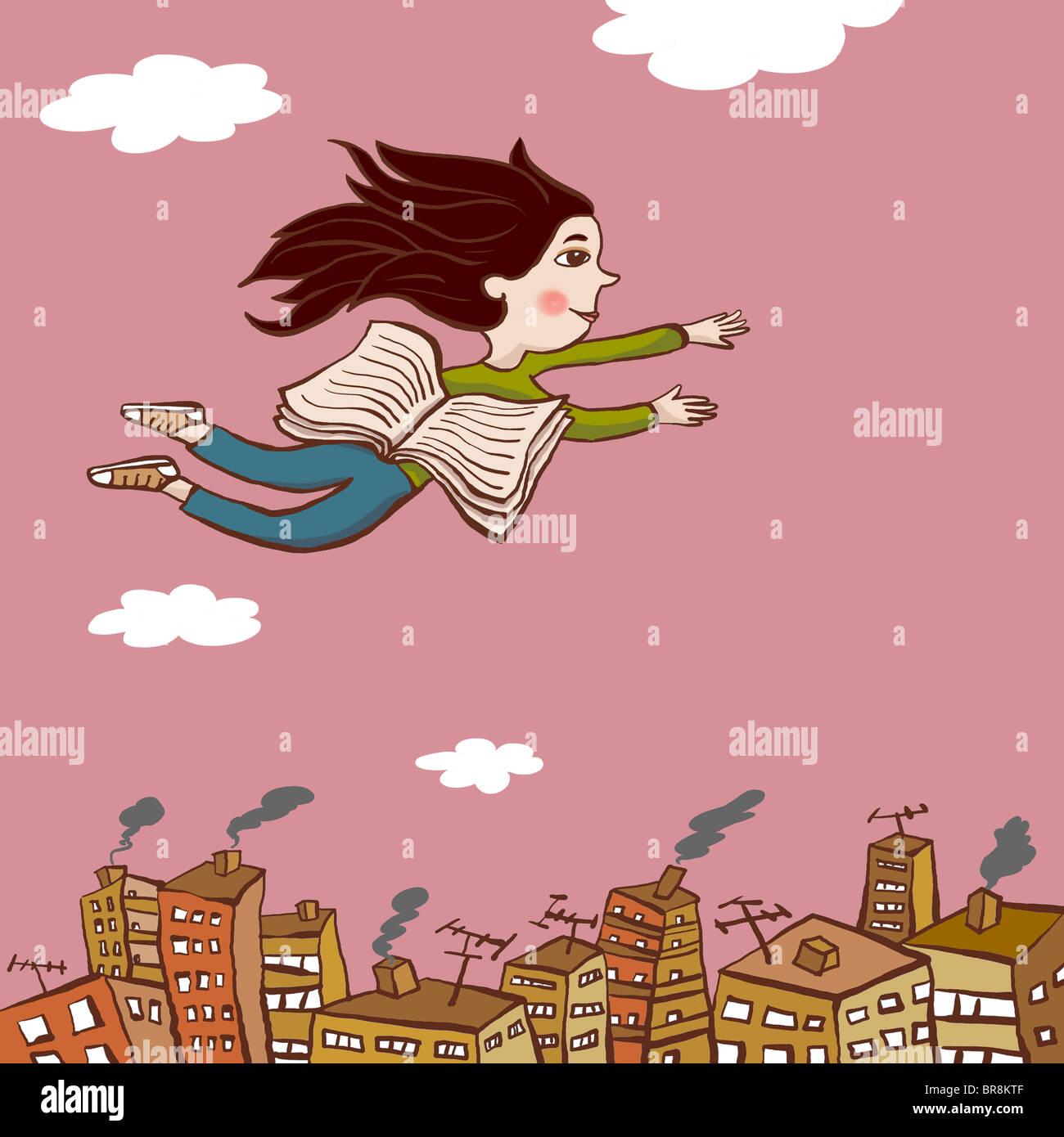 Eine Zeichnung eines jungen Mädchens, das über eine Stadt mit den Seiten eines Buches als Flügel Stockbild