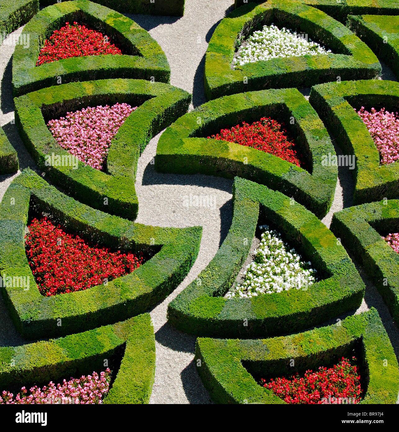 Leidenschaftliche Liebe: ein Teil der Liebesgarten, Chateau de Villandry, Frankreich Stockbild