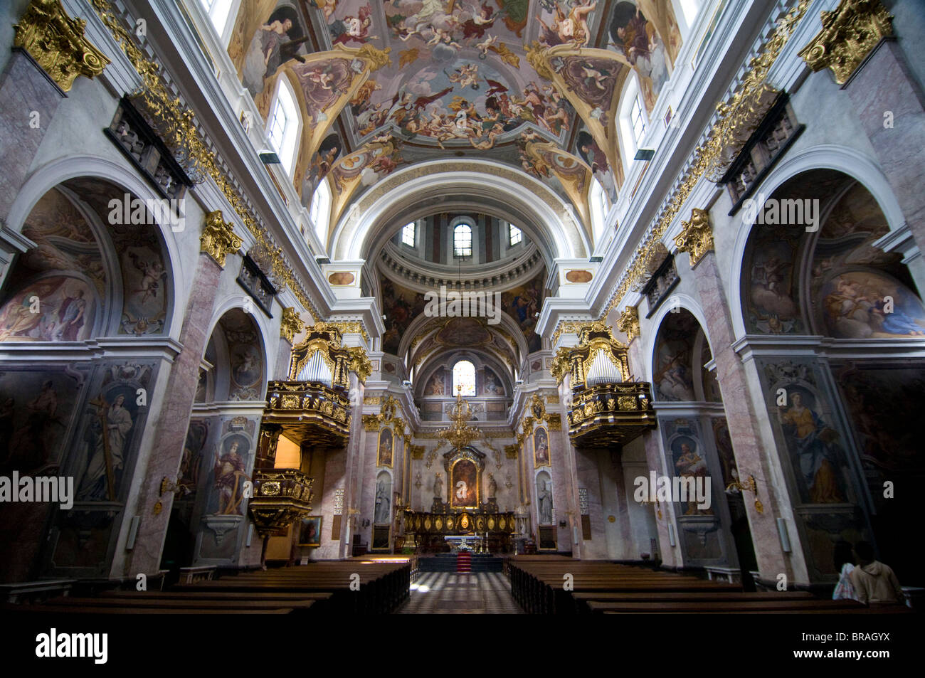 Großartige Innere der Kirche, Ljubljana, Slowenien, Europa Stockbild