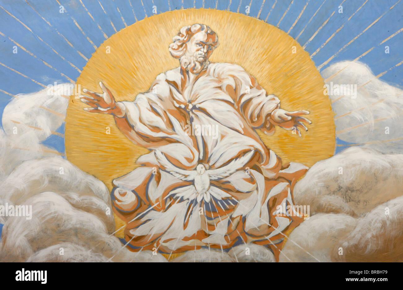Gott und der Heilige Geist in der Kirche Saint-Nicolas de Veroce, Haute Savoie, Frankreich Stockbild