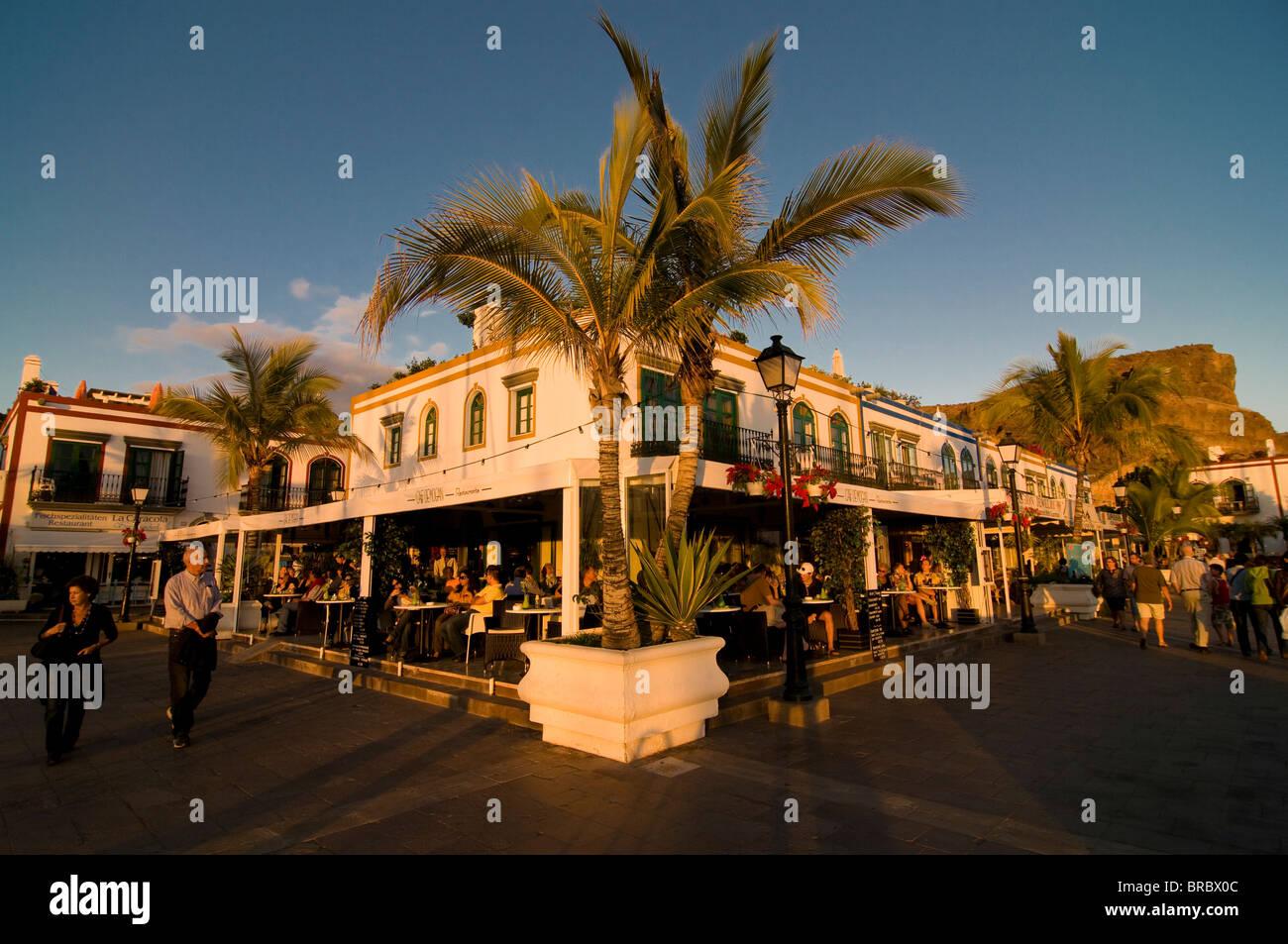 Restaurant in Puerto de Mogan, Gran Canaria, Kanarische Inseln, Spanien Stockbild