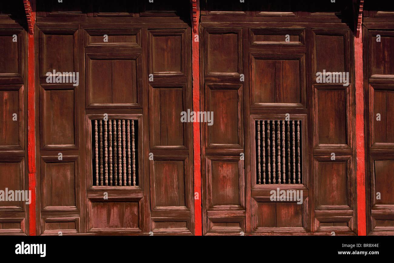 Holzplatten, Wat Pantao, ein klassisches Beispiel von Lanna (Nord Thai) Architektur, Chiang Mai, Thailand Stockbild