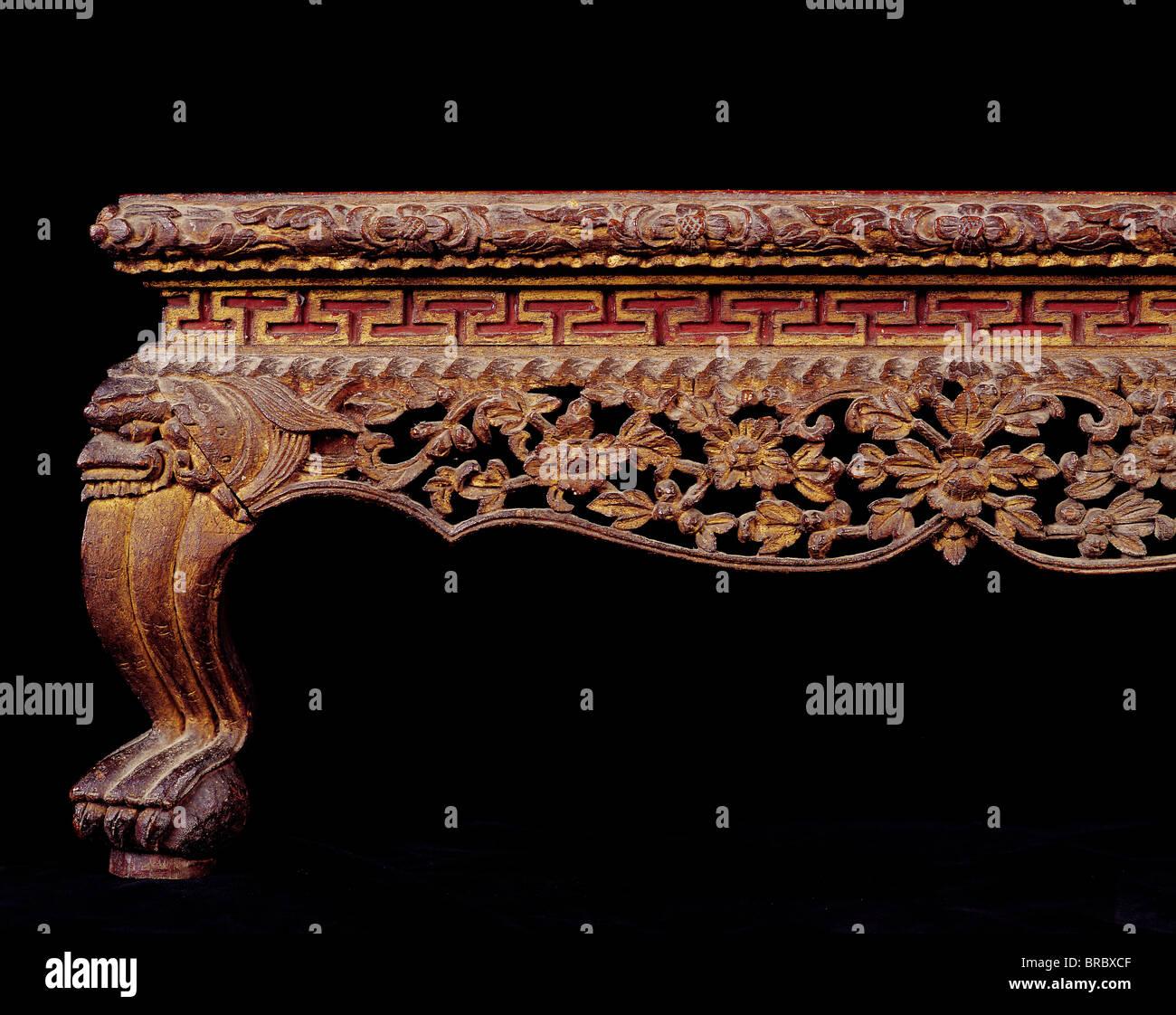 Detail des 19. Jahrhunderts Thai Tisch, Thailand Stockbild