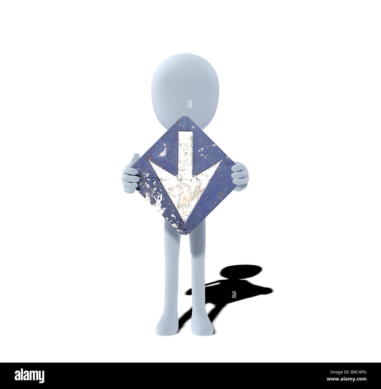 Konzept-Figur mit Schild nach unten nach unten nach unten Stockbild