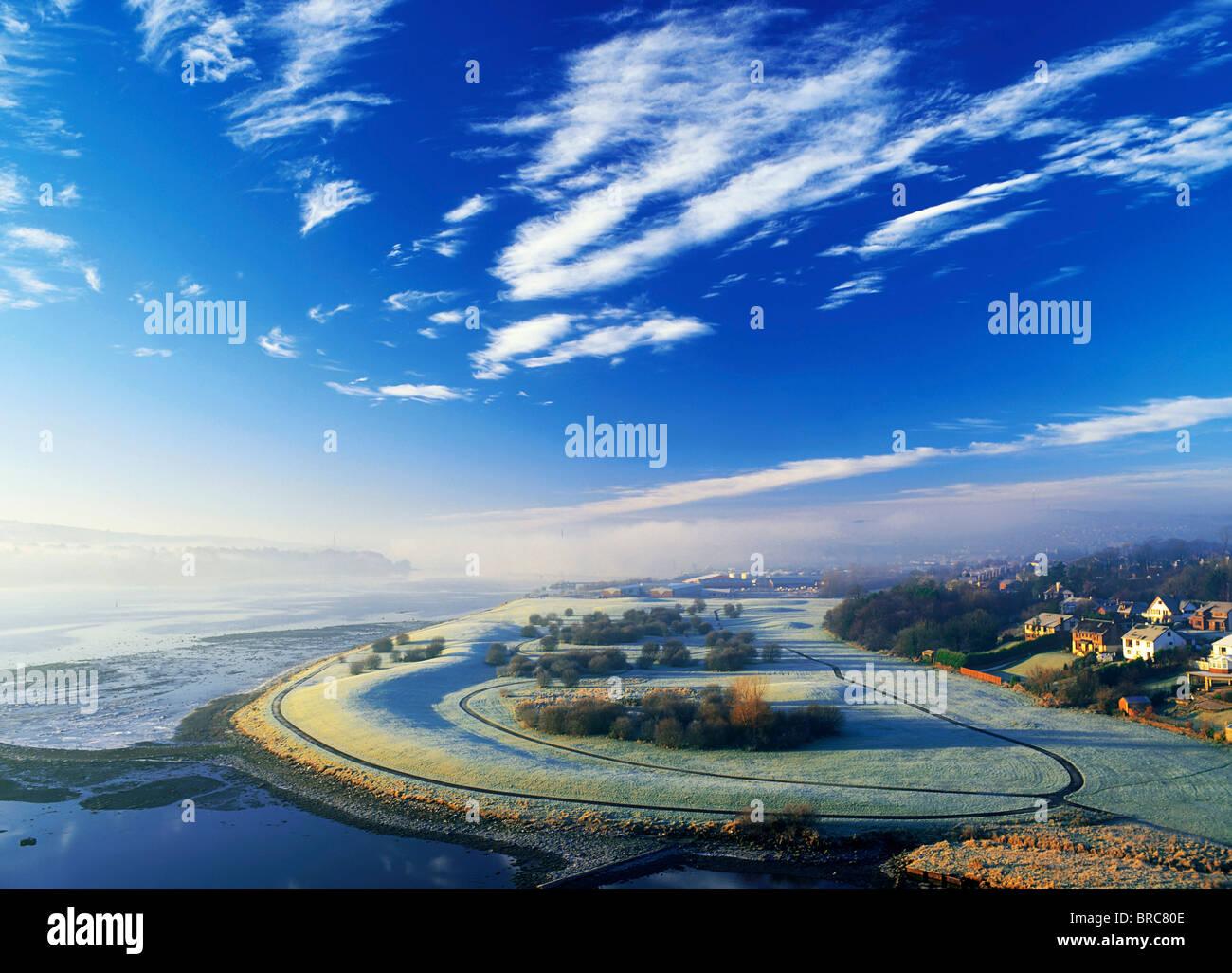 Co Derry, Irland; High Angle View Of Winter Frost und Nebel über einer Landschaft Stockbild