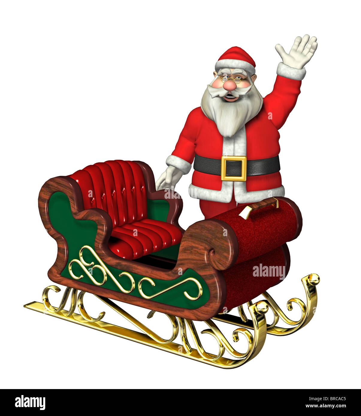 Weihnachtsmann mit Rentier-Schlitten Stockbild