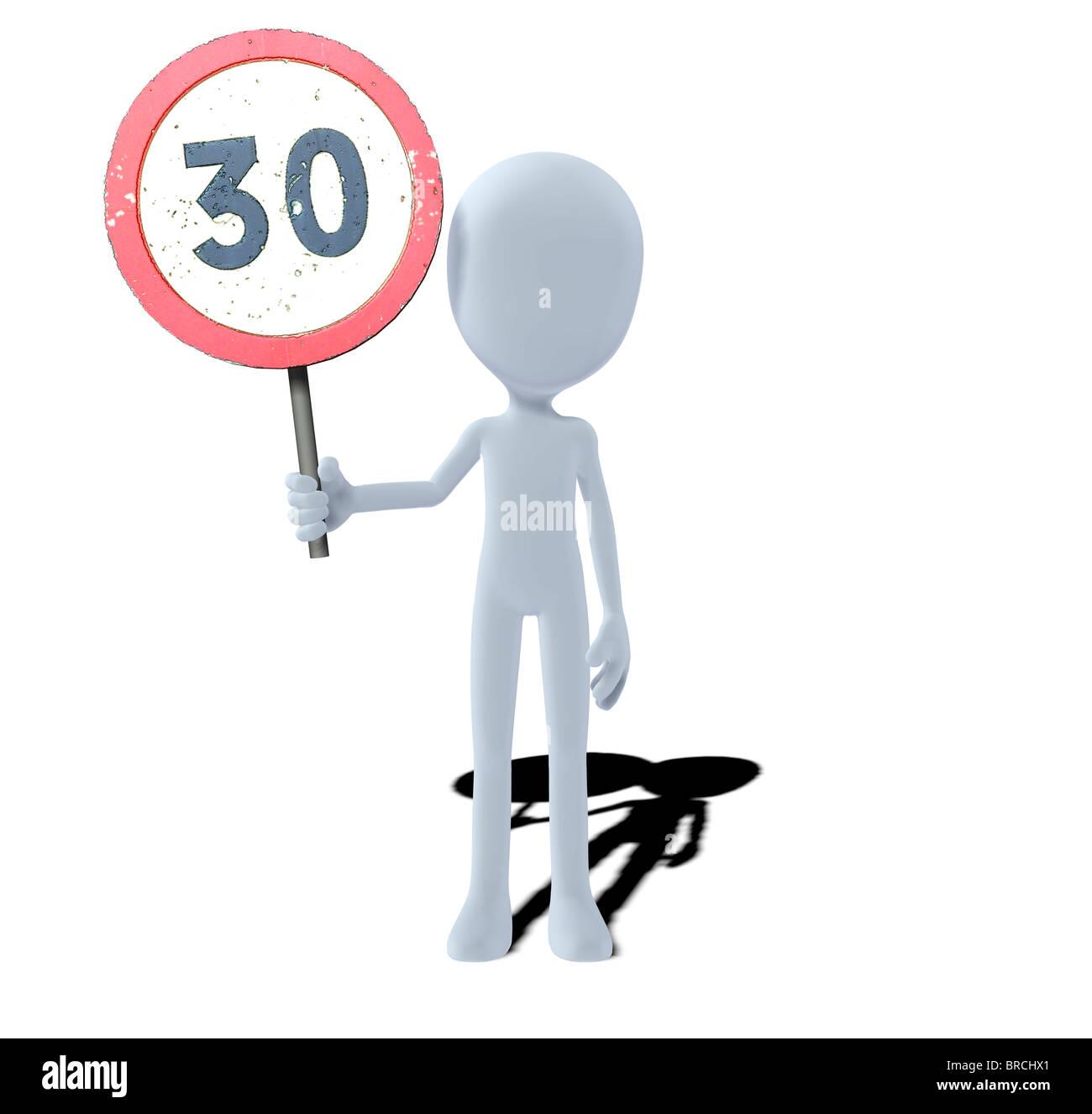 Konzept-Figur mit Schild Geschwindigkeitsbegrenzung Stockfoto