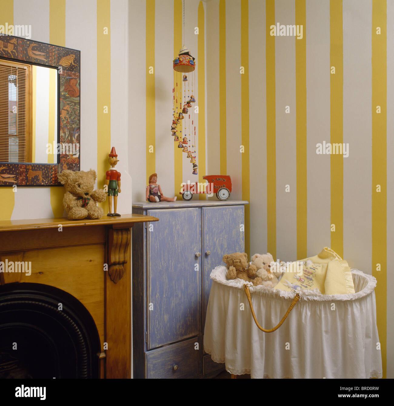Gelb Weiß Breit Gestreift Tapete Im Kinderzimmer Schlafzimmer Mit