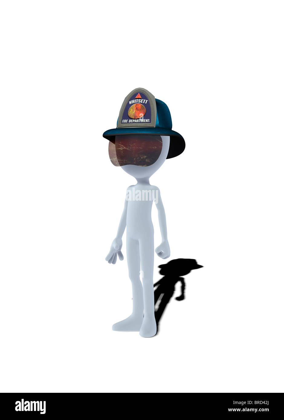 Konzept-Figur mit Feuerwehr-Helm Stockbild