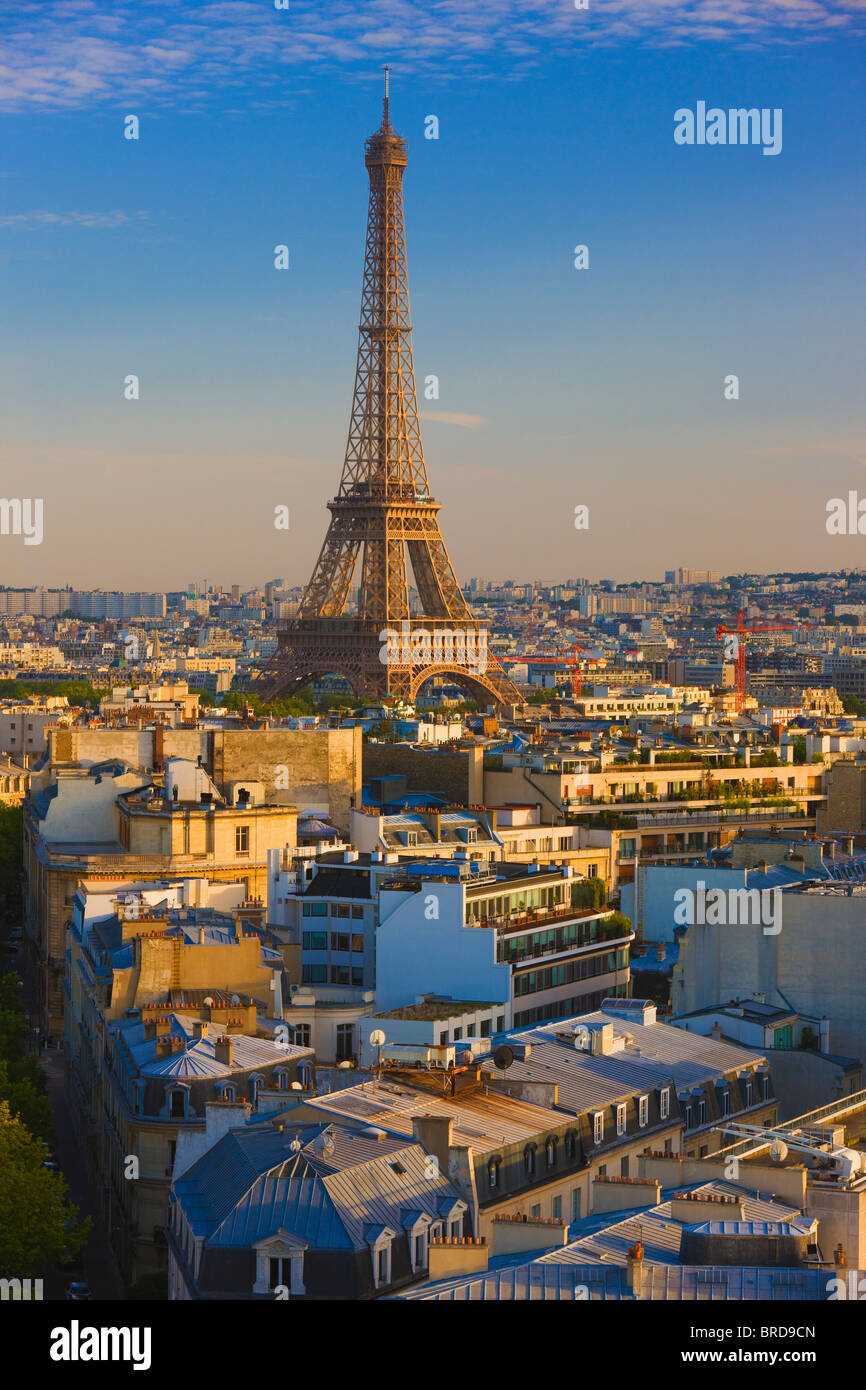 Erhöhten Blick auf den Eiffelturm, Paris, Frankreich Stockbild