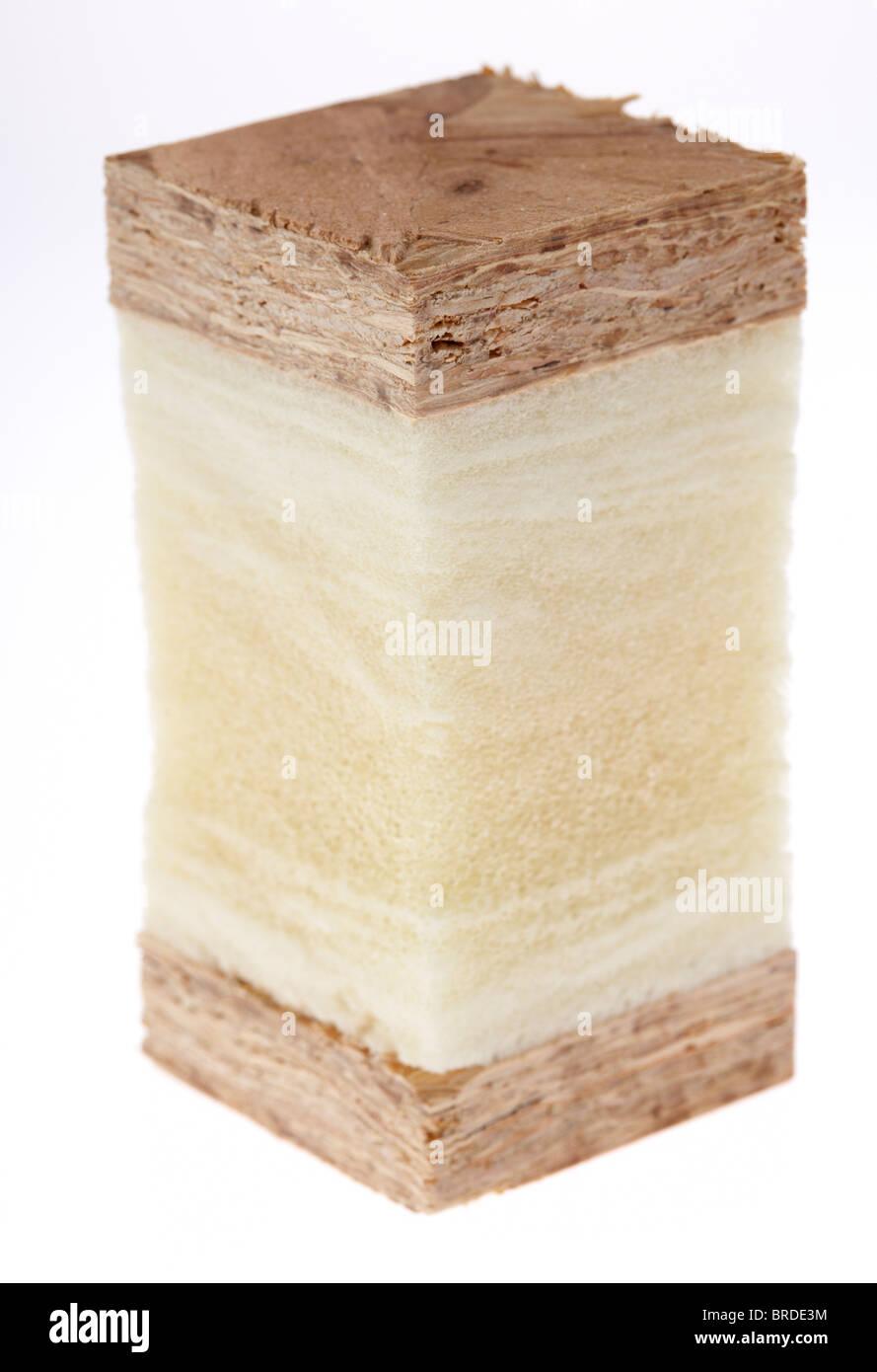 Schneiden Sie Querschnitt durch eine strukturelle isolierten Paneelen moderne isoliert Holzrahmenbau in Scheiben Stockbild
