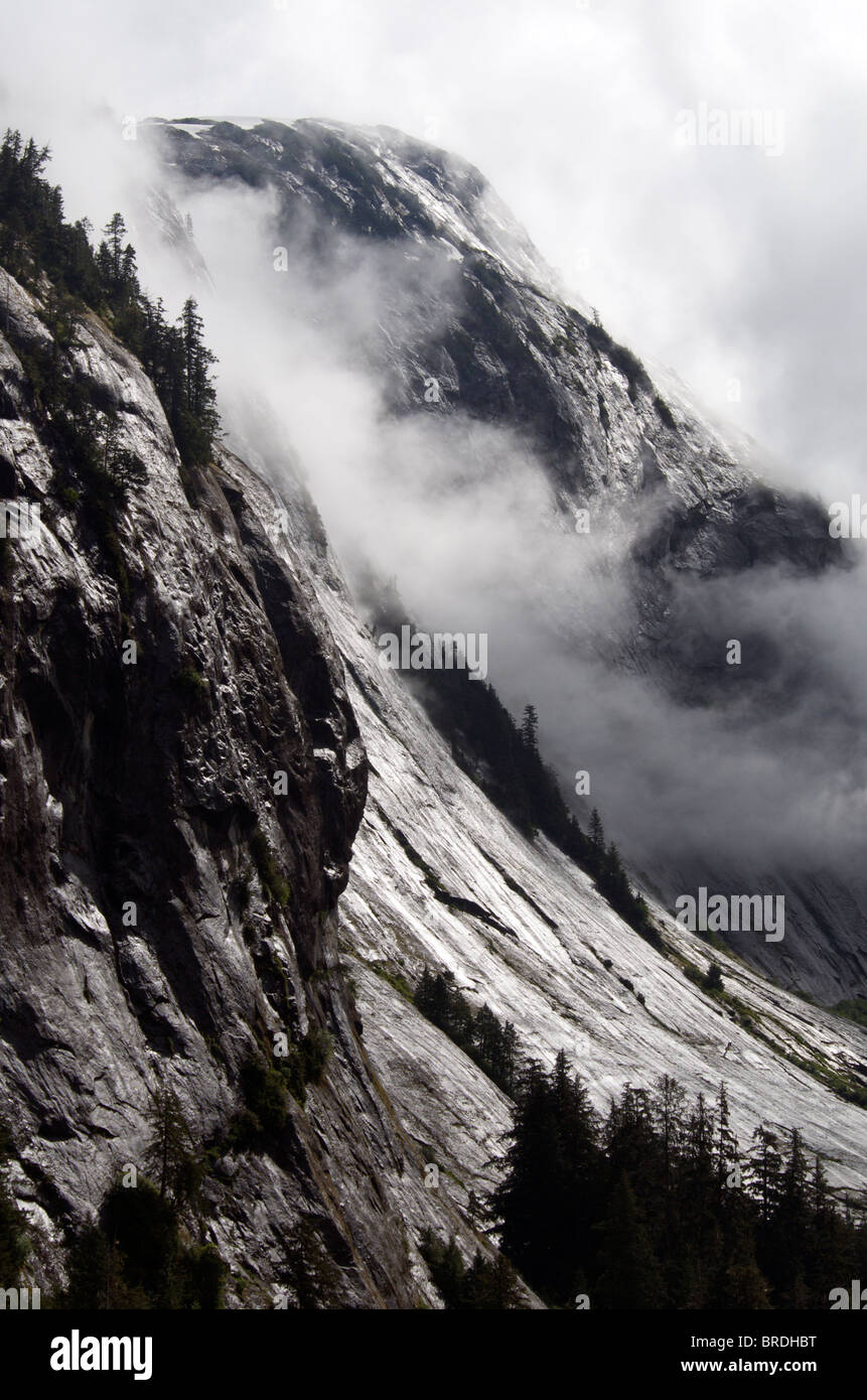 Felswand Rudyerd Bay Misty Fjords National Monument und Wildnis in der Nähe von Ketchikan Inside Passage Alaska Stockbild