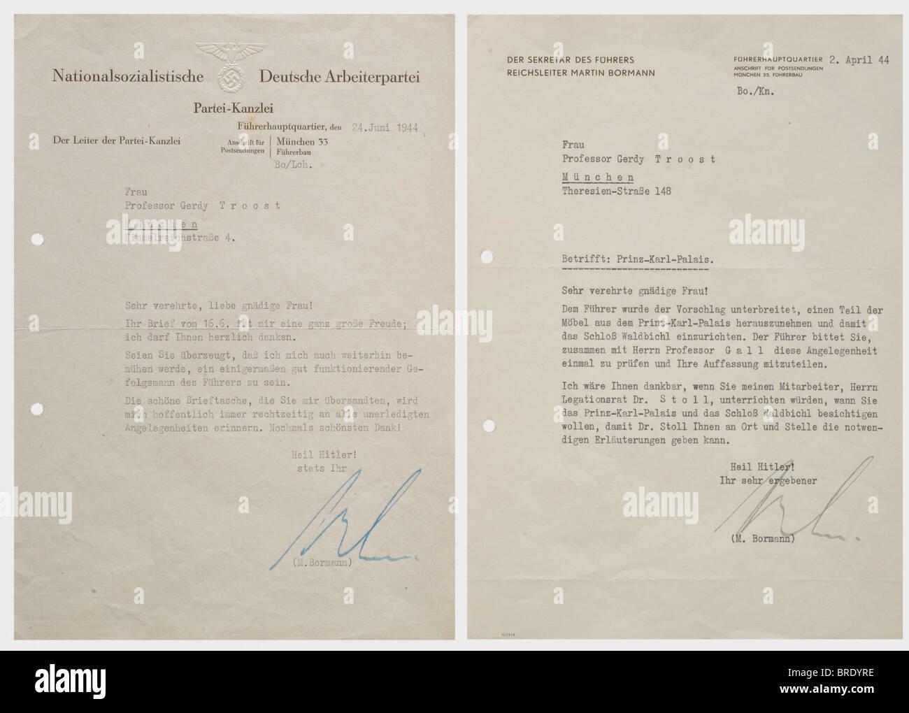 """Professor Gerdy Troost, zwei Schreiben von Martin Bormann Brief des Dankes """"Führers Hauptquartier, 24. Stockbild"""